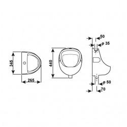 Conmetall Urinal Combipack mit Druckspüler SUR100
