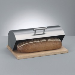 Zeller Brotkasten,39,5x28x16 Edelstahl/Gummibaum 20475